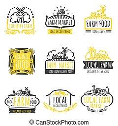 Hand drawn farm market organic food labels set