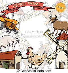 Hand Drawn Farming Colorful Template