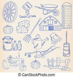 Hand Drawn Farming Icon Set - hand drawn farming icon set...