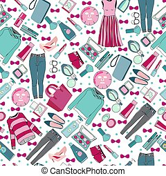 hand drawn fashion collection of clothes and accessories pattern