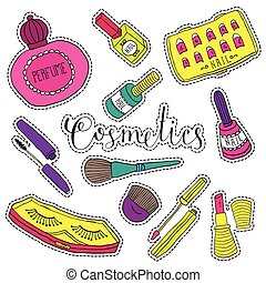 Hand drawn fashion cosmetics. Beauty and makeup set of stickers in cartoon comic style.