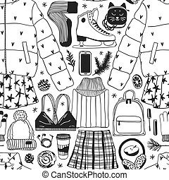 Hand drawn fashion illustration. Creative ink art work. Actual cozy vector background Ice Skating. Winter sport seamless pattern with figure skater wear and racing skates, accessoires, fur headphones