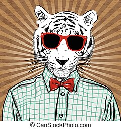Hand Drawn Fashion Illustration of dressed up tiger, in colors. Vector