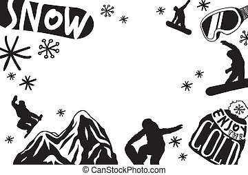 Hand drawn Fashion Illustration Snowboarding Things. Creative ink art work. Actual cozy vector pattern with Rider's Items. Winter Sport set