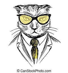 Hand Drawn Fashion Portrait of cat Hipster