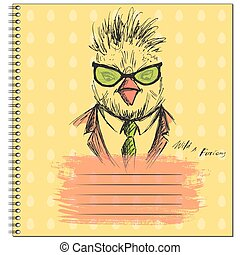Fashion Portrait of chicken Hipster