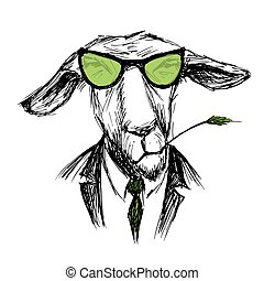 Hand Drawn Fashion Portrait of donkey Hipster