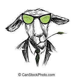 Hand Drawn Fashion Portrait of donkey Hipster