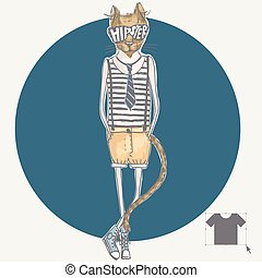 Hand Drawn Fashion Portrait Of Hipster Cat