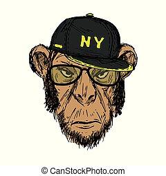 Hand Drawn Fashion Portrait of Monkey Hipster with dark cap,