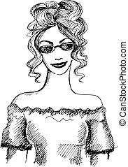 Hand drawn fashionable girl. Vector illustration
