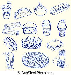 Hand Drawn Fast Food Icon Set