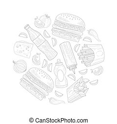Hand Drawn Fast Food Items and Ingredients Vector Circle Composition