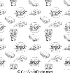 Hand drawn fast food pattern. Burger, pizza, french fries detailed illustrations. Great for restaurant menu or banner