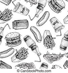 Hand drawn fast food pattern. Junk food and soda drinks...