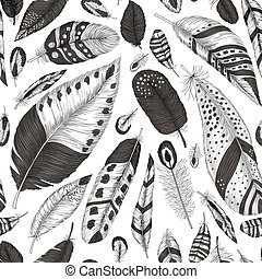 Hand drawn feathers pattern
