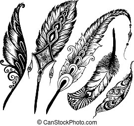 doodle vector Set of ethnic feather