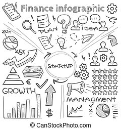 Hand drawn finance vector infographics with doodle charts and sketch diagrams