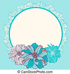hand-drawn, fiori, cartolina auguri
