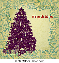 Hand drawn fir tree vector Christmas illustration