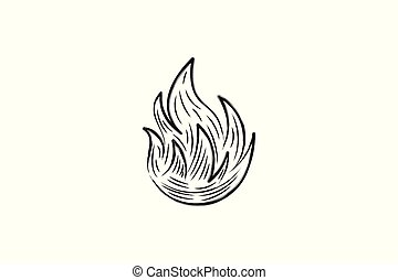 Hand drawn Fire Logo Designs Inspiration Isolated on White Background