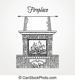 Hand drawn fireplace isolated on white background