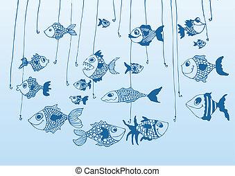 Hand drawn fish icons