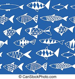 Hand drawn fish pattern seamless.