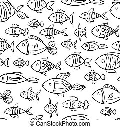 Hand drawn fish pattern.