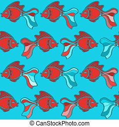 Hand drawn fish seamless pattern