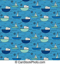 Hand Drawn Fishing Boat Pattern Background.