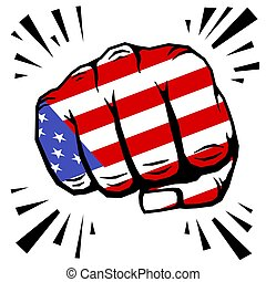 Hand drawn fist - american flag fist on white background