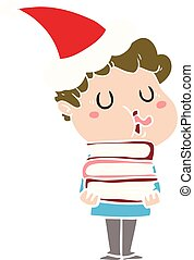flat color illustration of a man singing wearing santa hat