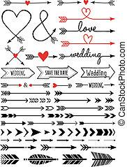 hand-drawn, flechas, vector, conjunto