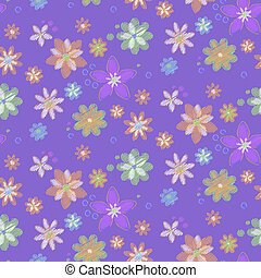 hand-drawn, fleurs, seamless, fond