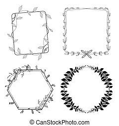 Hand drawn flora vector frame set