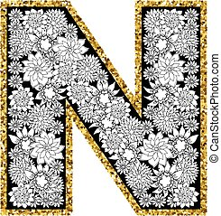Hand drawn floral alphabet design. Gold glittering contour....