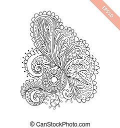 Hand drawn floral background doodle style. Design for cover,...