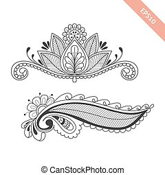 Hand drawn floral background  in doodle or henna  style. Black line vector design for cover,  bag, knapsack, notebook, datebook . Coloring book page.