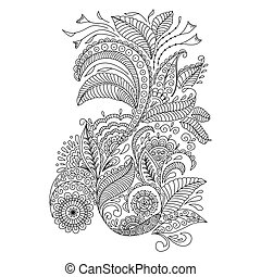 Hand drawn floral background in doodle or henna style....