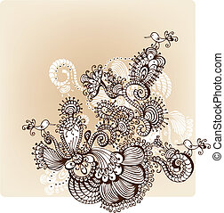 Hand Drawn floral background with o