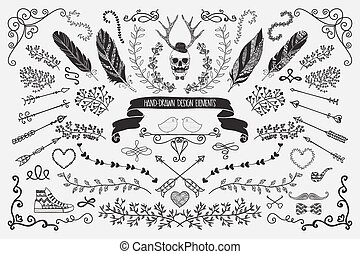 Hand-Drawn Floral Design Elements - Hand-Drawn Doodle Floral...