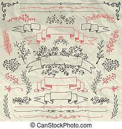 Hand Sketched Doodle Design Elements on Crumpled Paper Texture. Artistic Decorative Floral Banners, Dividers, Branches, Ribbons. Pen Drawing Vector Illustration. Pattern Brushes