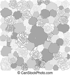 Hand drawn floral doodle background, abstract vector pattern