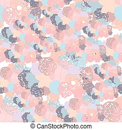 Hand drawn floral doodle background, abstract vector seamless pattern