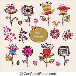 Hand Drawn floral elements. Set of flowers.