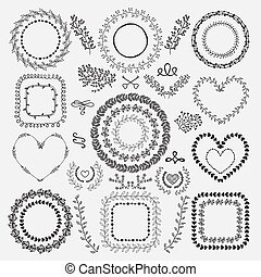 Hand-Drawn Floral Frames - Set of Hand-Drawn Doodle Floral...