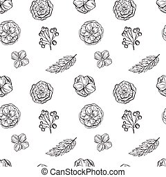 Hand drawn floral seamless pattern. Black and white. Vector illustration.