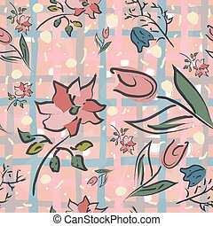 Hand Drawn Floral Seamless Pattern on brown