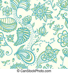 Hand-drawn floral seamless pattern.